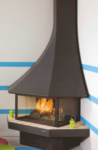 Caleo Ltd Designer Fireplaces Bordelet Julietta 985 Corner Enclosed Fireplace